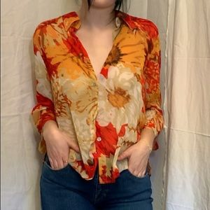 Printed button up vintage top